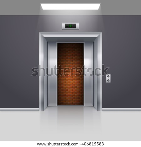 Half Open Chrome Metal Elevator Door with Deadlock - stock vector