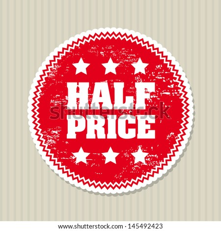 half price seal over lineal background vector illustration  - stock vector