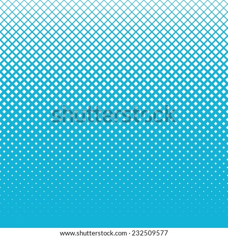halftone background of diagonal orientated squares, white squares on blue background looks like snow on blue sky  - stock vector