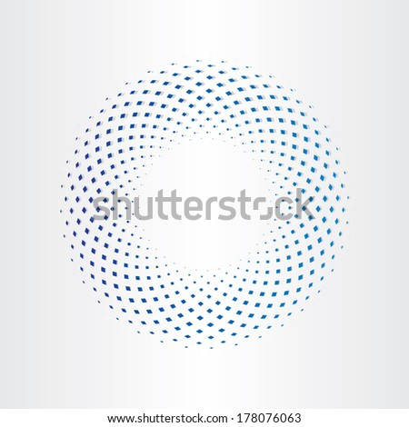 halftone circle with squares - stock vector