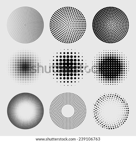 Halftone dots circles set in vector format - stock vector