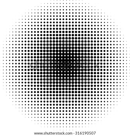 Halftone dots radial background black  and white  - stock vector