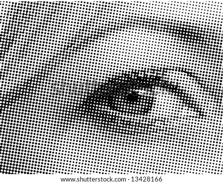Halftone eye shape - ideal for backgrounds and design - stock vector