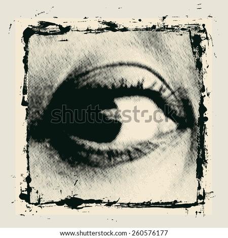 halftone female eye in grunge frame. vector illustration - stock vector