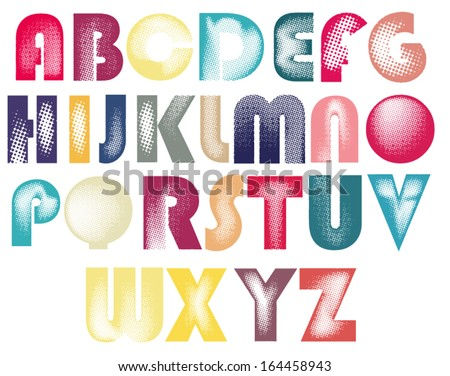 Halftone font, monochrome vector symbols alphabet. Vector eps10. Editable colors. - stock vector