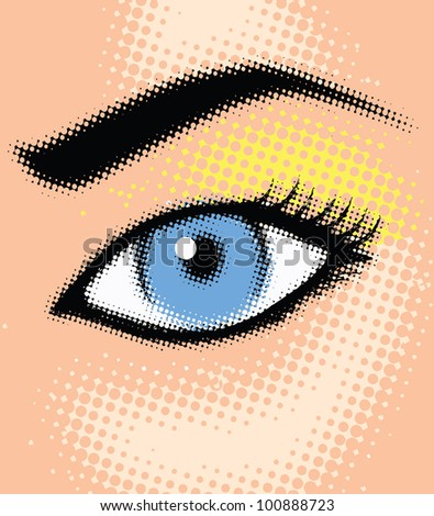 Halftone girl eye - vector illustration - stock vector