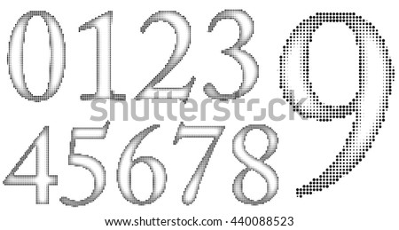 Halftone Numbers with round dots, inner shadow style. - stock vector