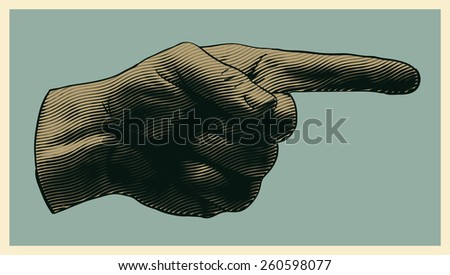 halftone pointing finger. engraved style. vector illustration - stock vector