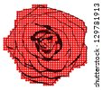 Halftone rose - stock vector