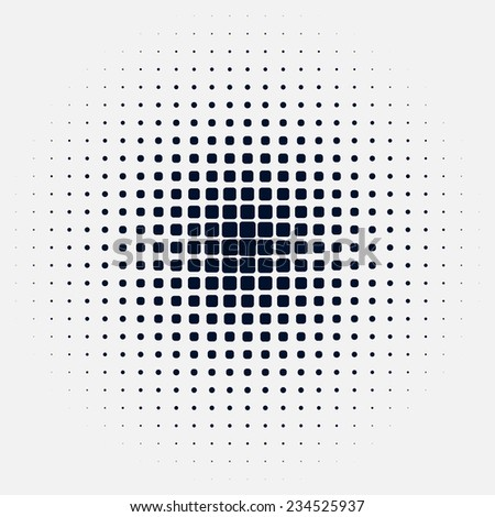 halftone round background of squares - stock vector