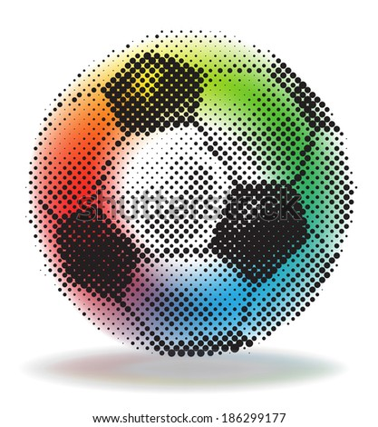 Halftone soccer ball with rainbow mash background - stock vector