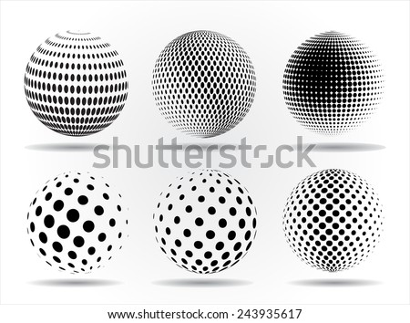 Halftone sphere.Halftone vector design element.Abstract round logo. - stock vector