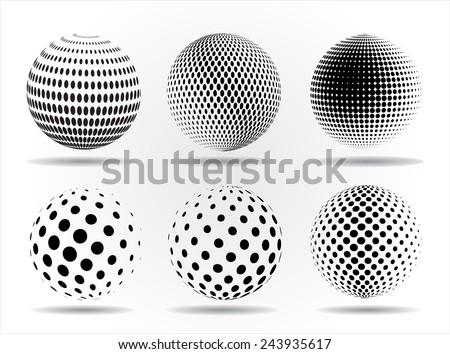 Halftone sphere.Halftone vector design element.Abstract round logo. - stock vector