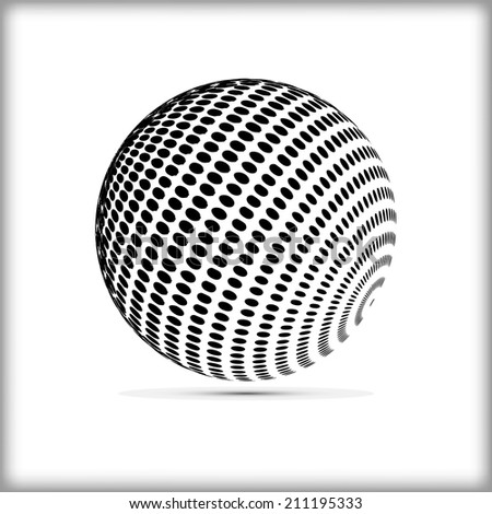 halftone sphere vector logo template. - stock vector