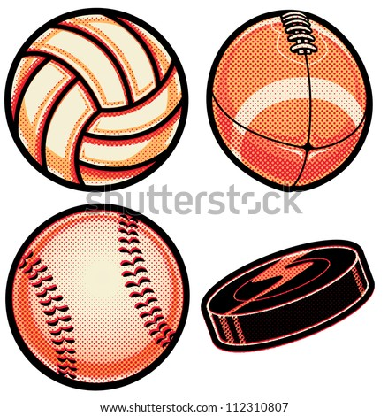 Halftone Sports Balls: Volleyball, Football, Baseball, Hockey Puck Set of vector sports balls (and puck) with halftone pattern overlay. Collection has volleyball, football, baseball and hockey puck. - stock vector