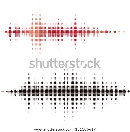 Halftone square vector elements.Vector sound waves. Music round waveform background. You can use in club, radio, pub, party, concerts, recitals or the audio technology advertising background. - stock vector