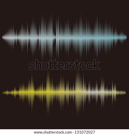 Halftone square vector elements.Vector sound waves. Music waveform background. You can use in club, radio, pub, party, concerts, recitals or the audio technology advertising background. - stock vector