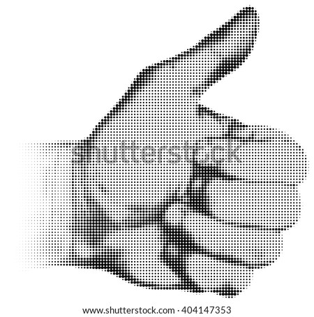 Halftone textured male thumb up isolated on white background - stock vector