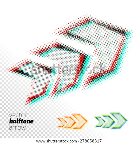 Halftone transparent arrow on white background. Mixed colors. Multiply blend mode. Elements for design. - stock vector