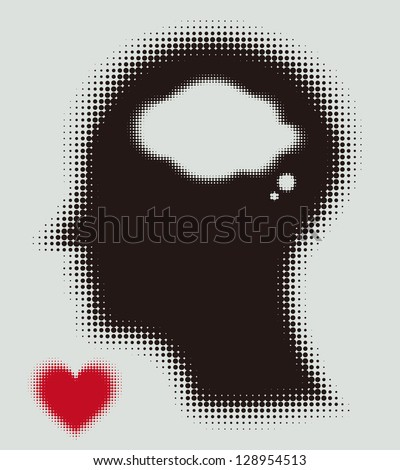 Halftone vector elements. Silhouette of the head, brain, and love heart. Process of human thinking. You can use in idea, discovery, genius, science or technology. - stock vector