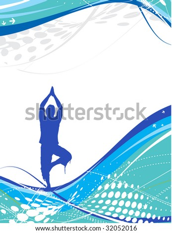halftone wave line with yoga composition ,vector illustration - stock vector