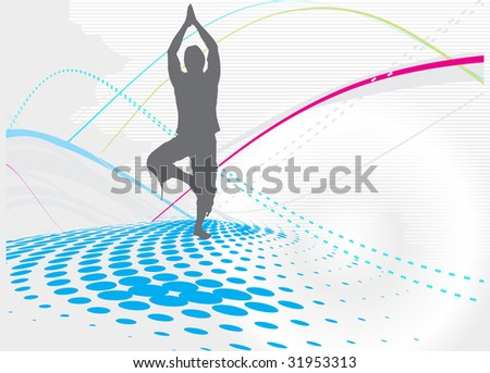 halftone wave line yoga vector illustration - stock vector