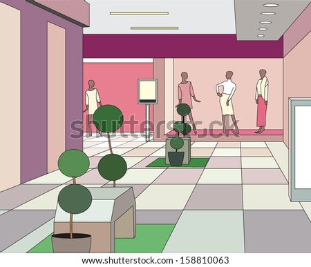hall in a modern shopping center (vector illustration) - stock vector
