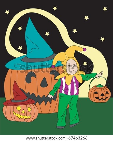 Halloween and a Little Boy - stock vector