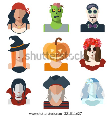 Halloween and Day of the Dead avatar icons in flat style. Vector characters: pirates, witch, zombie, pumpkin, vampire, dead bride, catrina, make-up day of the dead. Set of  illustrations icons. EPS 10 - stock vector