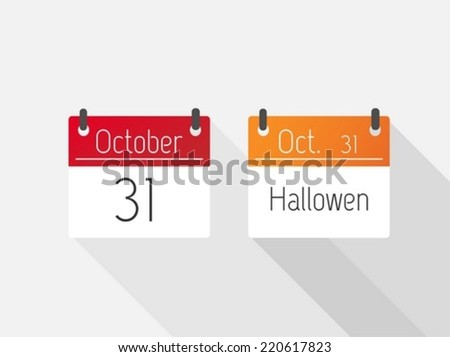 Halloween and october calendar - stock vector