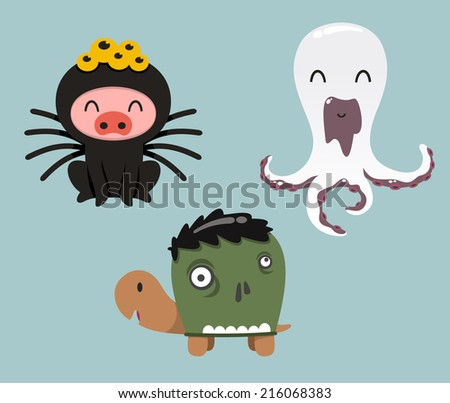 Halloween animals in cartoon costumes of pig, turtle and octopus - stock vector