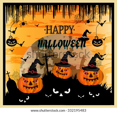 Halloween background, backdrop, poster, card with orange, big, smiling pumkins, moon, black spiders, bats, spider webs, old hats, gallows, text Happy Halloween - stock vector