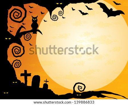 Halloween Background - Gnarled tree with owl, spooky eyes, flying bats and a huge moon -plenty of copy space - stock vector