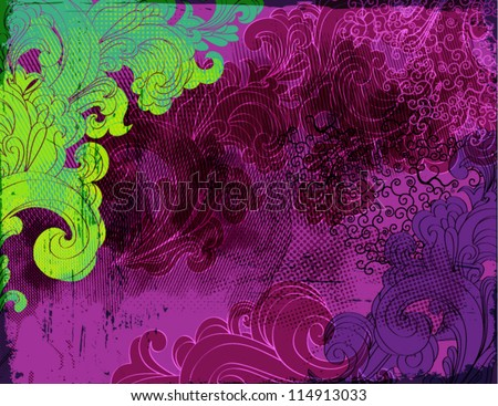 Halloween Background - Grungy purple, black and green swirls as a funky Halloween wallpaper or backdrop - stock vector