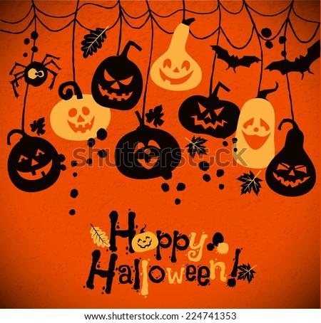 Halloween background of cheerful pumpkins. - stock vector