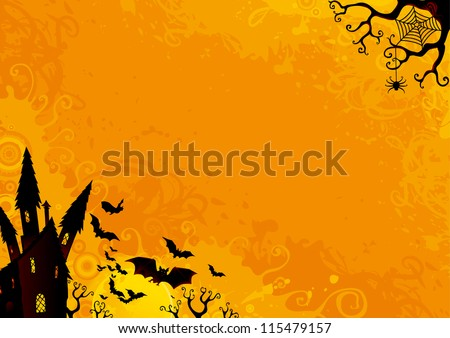 Halloween Background. Vector Halloween orange background with many flying  bats, old house, moon, trees. - stock vector