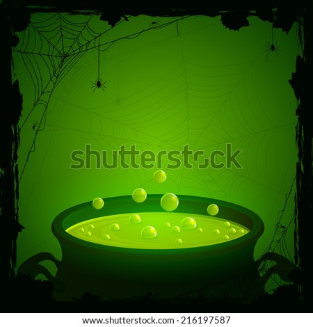 Halloween background, witches cauldron with green potion and spiders, illustration. - stock vector