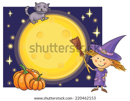 Halloween background with a little witch, Moon, cat and pumpkins - stock vector