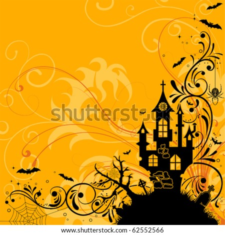 Halloween background with bat and castle, element for design, vector illustration - stock vector
