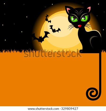Halloween background with black cat in front of the full moon landscape - stock vector