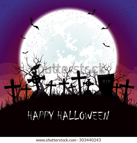 Halloween background with blue Moon,  bats and crow at the cemetery, illustration. - stock vector