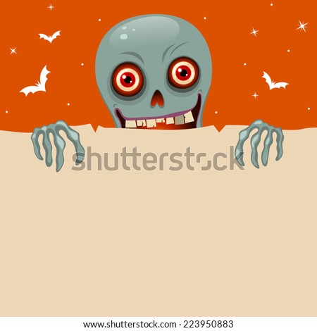 Halloween background with cute red googly eyes zombie - stock vector