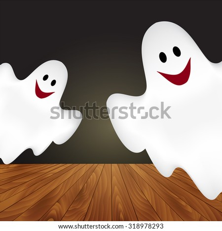 Halloween background with ghosts.  - stock vector