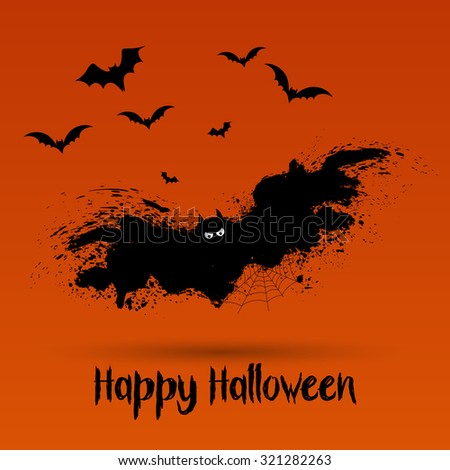 Halloween background with grunge bat design - stock vector