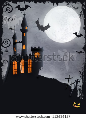 Halloween background with haunted castle, bats, ghosts, full moon and grunge elements - stock vector