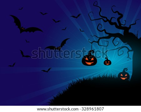 Halloween background with pumpkins and bats - stock vector
