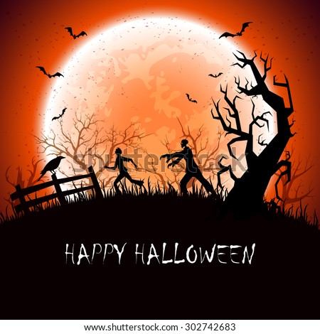 Halloween background with scary zombie and fearfulness running man, illustration. - stock vector