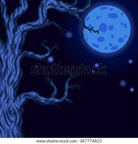 Halloween background with Silhouettes of Halloween trees. Halloween bare spooky scary trees on Moon background. Vector illustration - stock vector