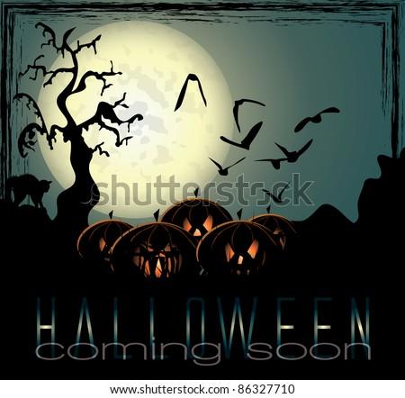 Halloween background with spooky pumpkins - stock vector