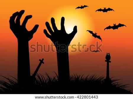 Halloween background with spooky zombie hands,Vector illustration of Happy Halloween Poster. - stock vector
